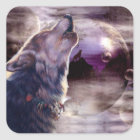 Wolf Howling at The Moon Square Sticker