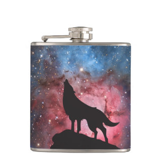 Wolf Howling in Galaxy Hip Flask