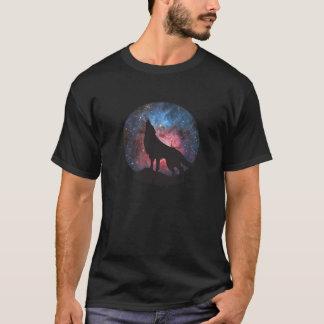 Wolf Howling in Galaxy T-Shirt