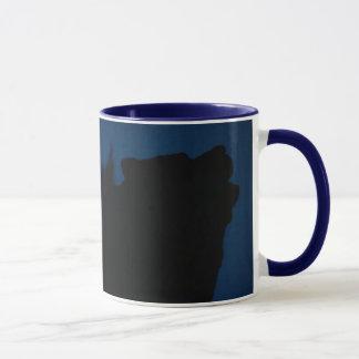 wolf howling with dark blue sky mug
