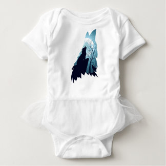 Wolf Howling with Forest2-01 Baby Bodysuit
