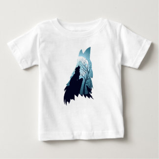 Wolf Howling with Forest2-01 Baby T-Shirt