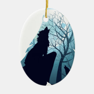 Wolf Howling with Forest2-01 Ceramic Ornament