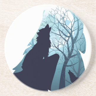 Wolf Howling with Forest2-01 Drink Coasters