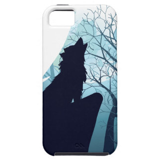 Wolf Howling with Forest2-01 iPhone 5 Case
