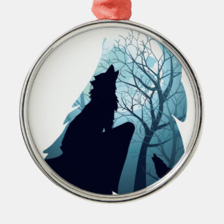 Wolf Howling with Forest2-01 Metal Ornament