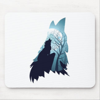 Wolf Howling with Forest2-01 Mouse Pad