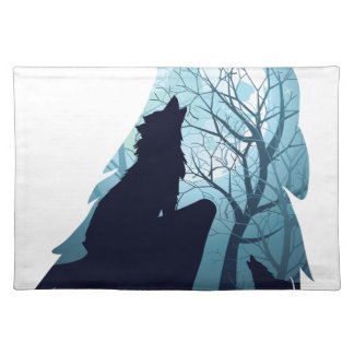 Wolf Howling with Forest2-01 Placemat