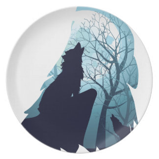 Wolf Howling with Forest2-01 Plate