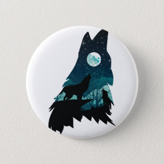 Wolf Howling with Forest 2 Inch Round Button