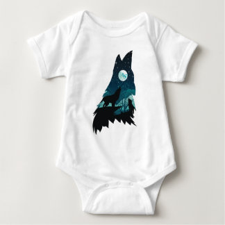 Wolf Howling with Forest Baby Bodysuit
