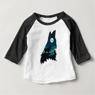 Wolf Howling with Forest Baby T-Shirt