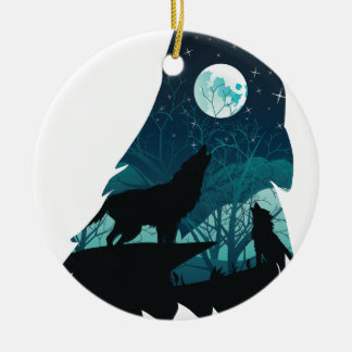 Wolf Howling with Forest Ceramic Ornament