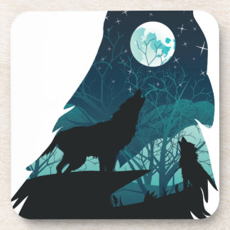 Wolf Howling with Forest Drink Coaster