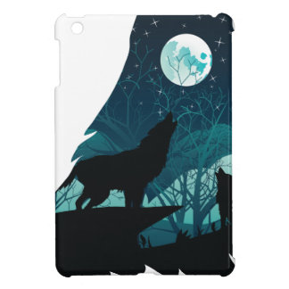 Wolf Howling with Forest iPad Mini Covers
