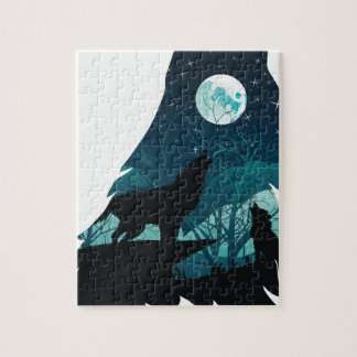 Wolf Howling with Forest Jigsaw Puzzle