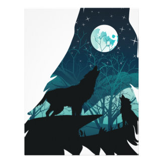 Wolf Howling with Forest Letterhead