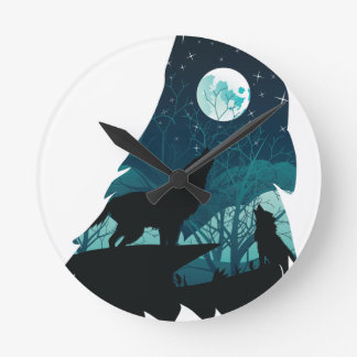 Wolf Howling with Forest Round Clock