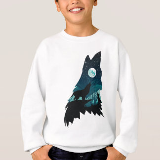 Wolf Howling with Forest Sweatshirt
