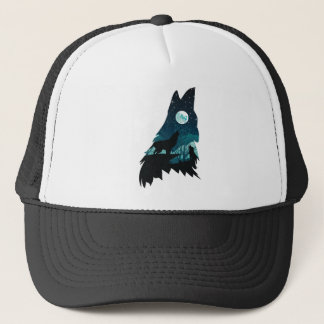 Wolf Howling with Forest Trucker Hat