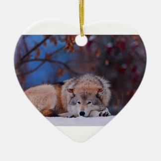 Wolf Hunts In The Snow Ceramic Heart Ornament