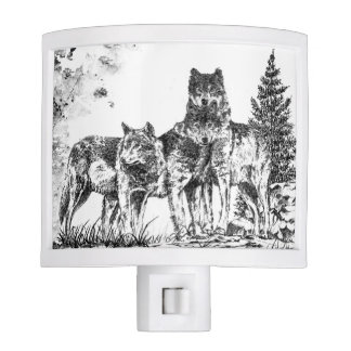 Wolf Illustration Night Light