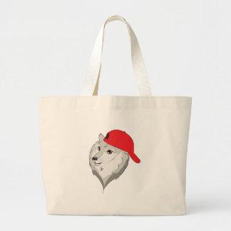 Wolf in Baseball Cap Large Tote Bag