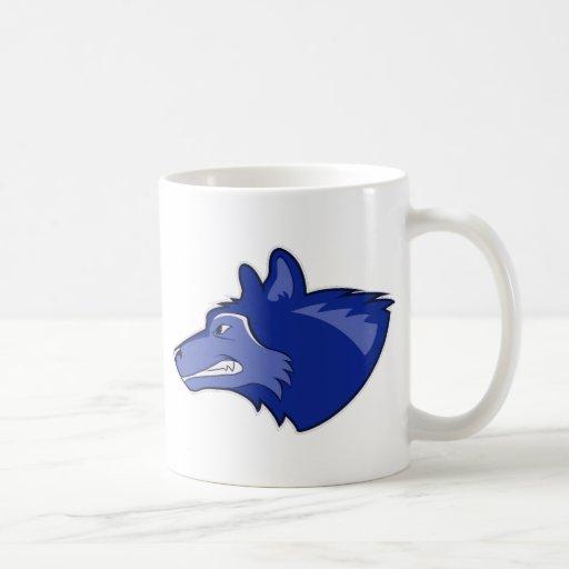 Wolf in Dark Blue Coffee Mugs