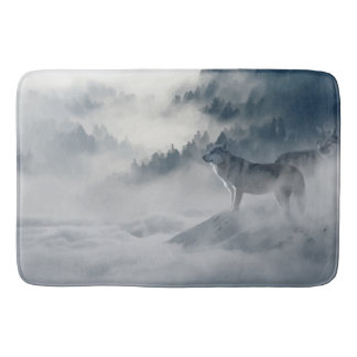 Wolf in misty Mountains in Black, Gray and white. Bath Mat