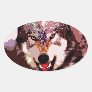Wolf in Snow Oval Sticker