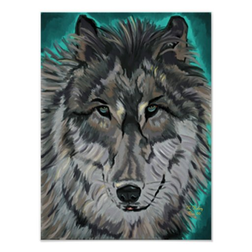Wolf in Teal Ice poster