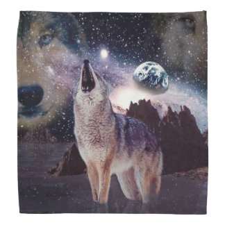 Wolf in the moon howling at the earth bandana