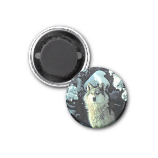 Wolf In The Snow 1 Inch Round Magnet