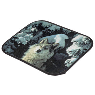Wolf In The Snow Car Mat