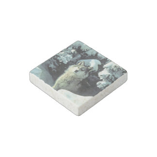 Wolf In The Snow Stone Magnets