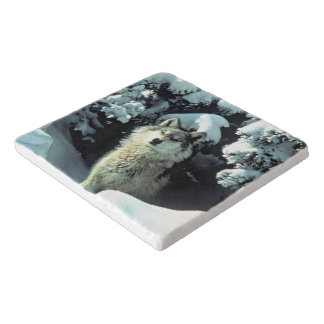 Wolf In The Snow Trivet
