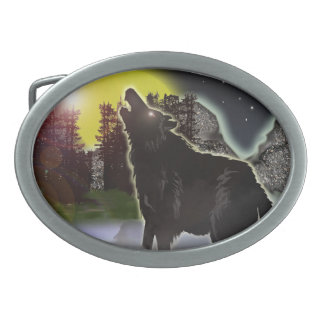 wolf in the woods belt buckles