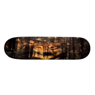 Wolf in the woods skateboard deck