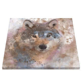 Wolf in watercolor canvas print