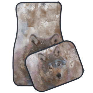 Wolf in watercolor car mat