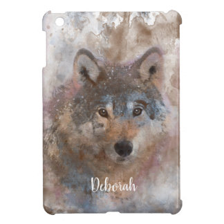 Wolf in watercolor case for the iPad mini