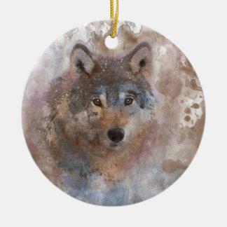 Wolf in watercolor ceramic ornament