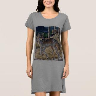 Wolf in winter forest dress
