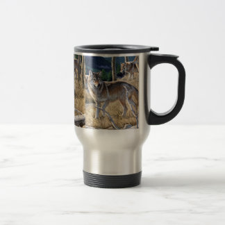 Wolf in winter forest travel mug