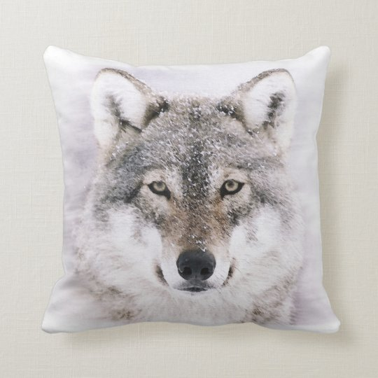 Wolf in Winter Painting Throw Pillow