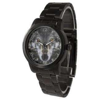 Wolf Inspirational graphic Portrait Dial Watch