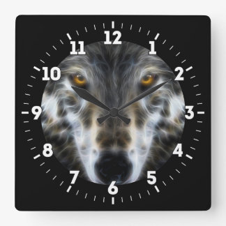 Wolf Inspirational graphic Portrait on a Square Wall Clock