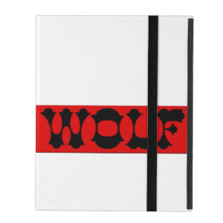Wolf logo red box iPad case