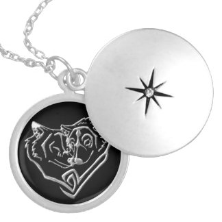 Wolf Lovers Silver Plated Round Locket