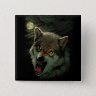 Wolf moon 2 inch square button